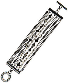 DKNY Black-Tone Crystal & Stone Multi-Chain Bracelet, Created for Macy's