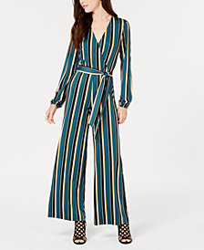Ultra Flirt Juniors' Striped Surplice Jumpsuit