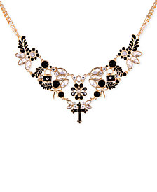 "GUESS Gold-Tone Jet Stone & Crystal Statement Necklace, 16"" + 2"" extender"