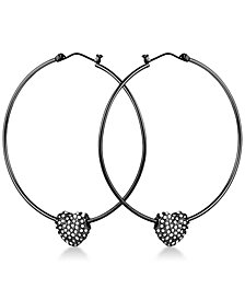 GUESS Crystal Heart Hoop Earrings