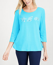 Karen Scott Embellished 3/4-Sleeve Cotton Top, Created for Macy's