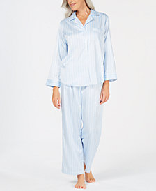 Miss Elaine Brushed-Back Satin Button-Front Pajama Set