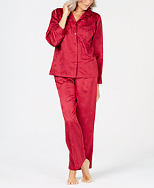 Miss Elaine Petite Brushed-Back Satin Pajama Set
