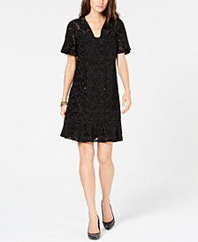 MICHAEL Michael Kors Mesh Burnout Tie-Neck Dress