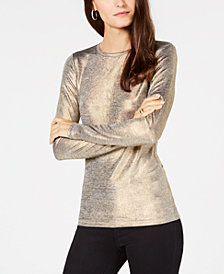 MICHAEL Michael Kors Foil Long-Sleeve Top, in Regular and Petite Sizes