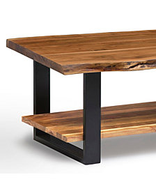 Alpine Natural Live Edge Wood Large Coffee Table