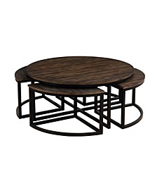 "Arcadia Wood 42"" Round Coffee Table with Nesting Tables"