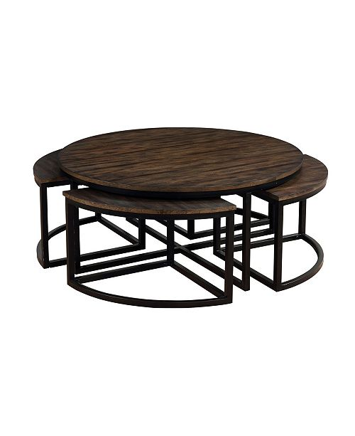 Arcadia Wood 42 Round Coffee Table With Nesting Tables