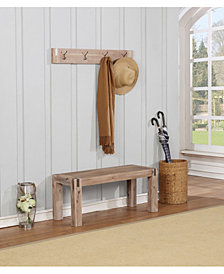 Woodstock Acacia Wood With Metal Coat Hook And Bench Set