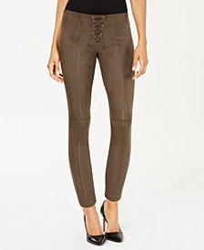 HUE® Lace-Up Microsuede Skimmer Leggings
