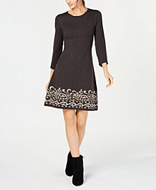 Jessica Howard Petite Contrast Scroll Fit & Flare Sweater Dress