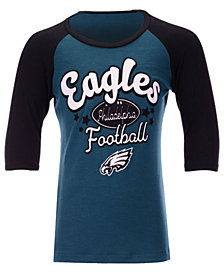 5th & Ocean Philadelphia Eagles Raglan T-Shirt, Girls (4-16)