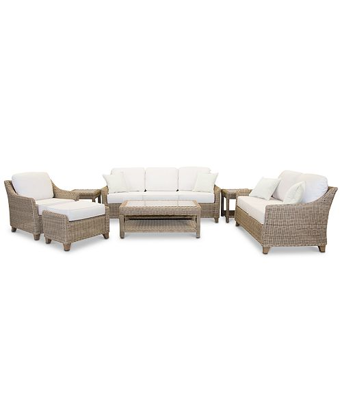 Furniture Willough Outdoor 7-Pc. Set (1 Sofa, 1 Loveseat, 1 Club Chair, 1 Coffee Table, 2 End Tables & 1 Ottoman), Created for Macy's