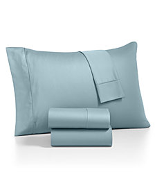 AQ Textiles Monroe 4-Pc. Queen Solid Sheet Sets, 1000 Thread Count Egyptian Blend
