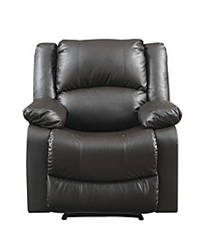 Preston Manual Recliner, Faux Leather and Wood Frame