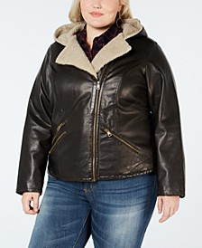 Plus Size Faux Sherpa-Lined Hooded Moto Jacket