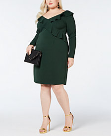Love Squared Plus Size Ruffle-Trim Bodycon Dress