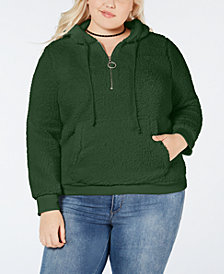 Planet Gold Plus Size Half-Zip Fleece Hoodie