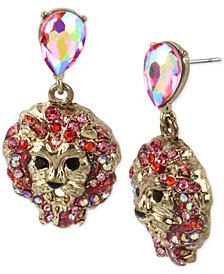 Betsey Johnson Gold-Tone Crystal Lion Head Drop Earrings