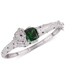 Emerald-Look Glass Stone and Cubic Zirconia Panther Bangle Bracelet in Sterling Silver