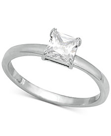 Giani Bernini Cubic Zirconia Square Stone Ring in Sterling Silver, Created for Macy's