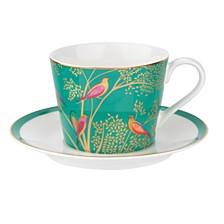 Sara Miller Teacup & Saucer, Green