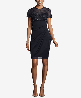 Petite Beaded Ruched Shift Dress by Xscape