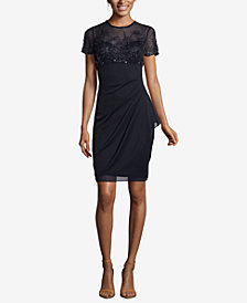 XSCAPE Petite Beaded Ruched Shift Dress