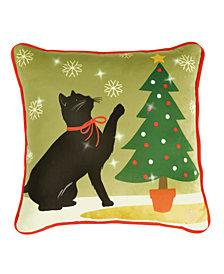 Lite Me Up Christmas Cat LED Decorative Pillow