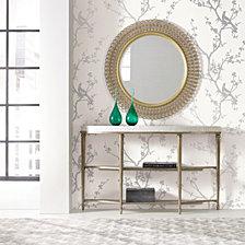 Cynthia Rowley for Tempaper Bird Watching White & Silver Self-Adhesive Wallpaper