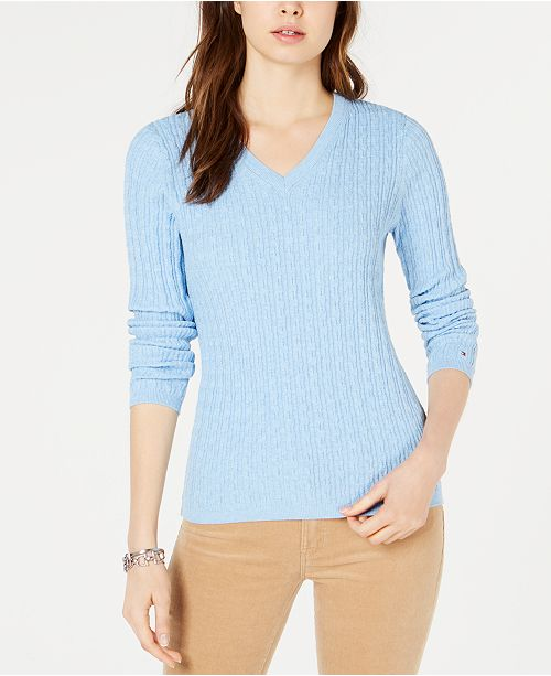 bdc01d81710 Tommy Hilfiger Cotton Cable-Knit Sweater, Created for Macy's ...