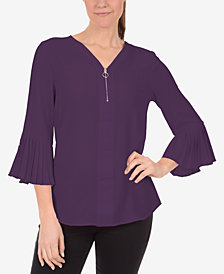 NY Collection Petite Pleated Bell-Sleeve Top