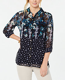 Tommy Hilfiger Sheer Printed Utility Shirt, Created for Macy's
