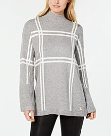 Tommy Hilfiger Plaid Mock Turtleneck Sweater, Created for Macy's