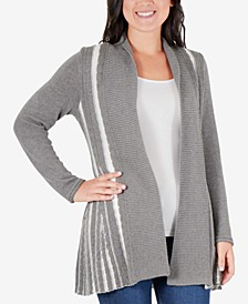 Petite Striped Open-Front Cardigan