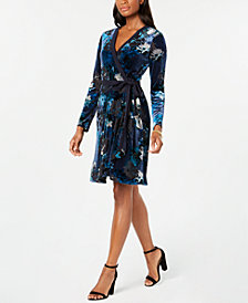 Tommy Hilfiger Velvet Wrap Dress, Created for Macy's