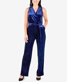 NY Collection Petite Faux-Wrap Velvet Jumpsuit
