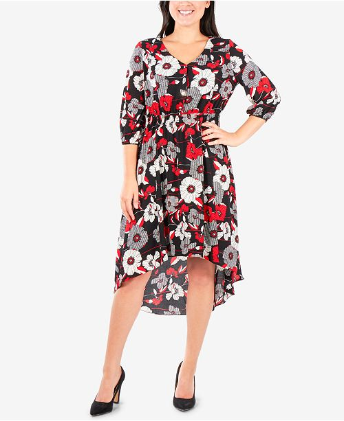 NY Collection Petite Printed High-Low Dress