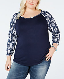 Style & Co Plus Size Printed Raglan-Sleeve T-Shirt, Created for Macy's
