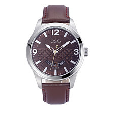 Men's ESQ0081 Stainless Steel Watch, Brown Dial, Date Window