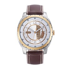 Men's Stainless Steel Watch, Two-Tone Dial, Day and Date Windows