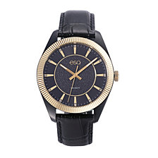 Men's ESQ0150 Black IP Stainless Steel Watch with Black Dial and Crystal Accents