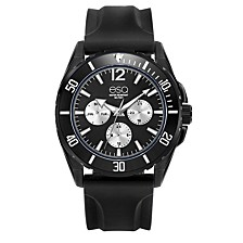 Men's Multi-Function Black IP Stainless Steel Watch, Silicone Strap