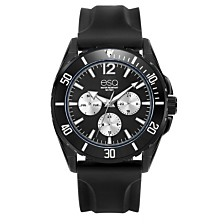 Men's ESQ0244 Multi-Function Black IP Stainless Steel Watch, Silicone Strap