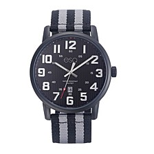 Men's Black IP Stainless Steel Watch, Black Dial, Matching Nato Strap