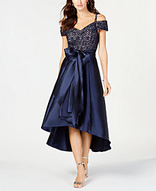 R & M Richards Cold-Shoulder Sequined Lace & Satin Gown