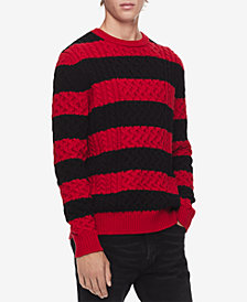 Calvin Klein Men's Striped Cable-Knit Sweater