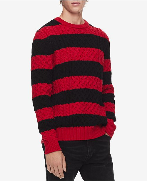 b7e90972581 Calvin Klein Men s Striped Cable-Knit Sweater   Reviews - Sweaters ...