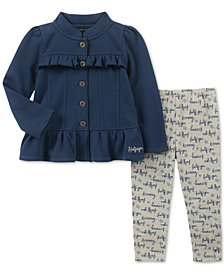 Tommy Hilfiger Baby Girls 2-Pc. Ruffle Fleece Jacket & Printed Leggings Set