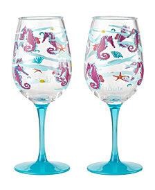 Enesco Lolita Seahorse 2-Pc. Wine Glass Set